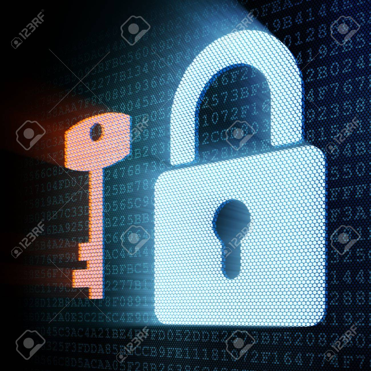 Digital padlock and key, 3d render Stock Photo - 12111089