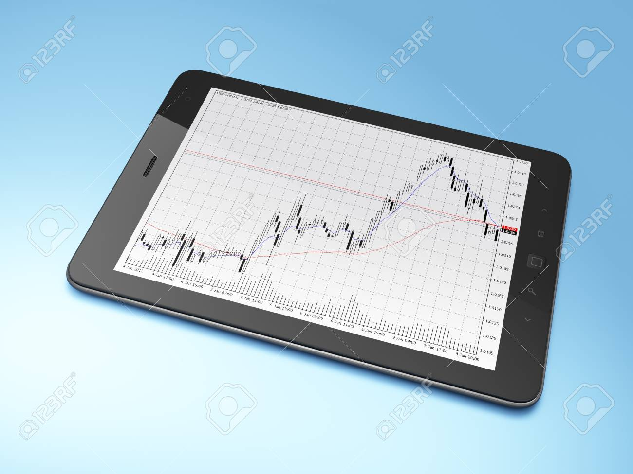 Beautiful black tablet pc on blue background, 3d render Stock Photo - 12375129
