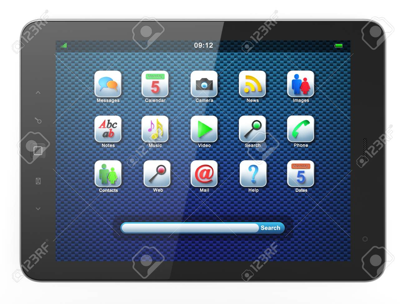 High-detailed black tablet pc on white background, 3d render Stock Photo - 13229417