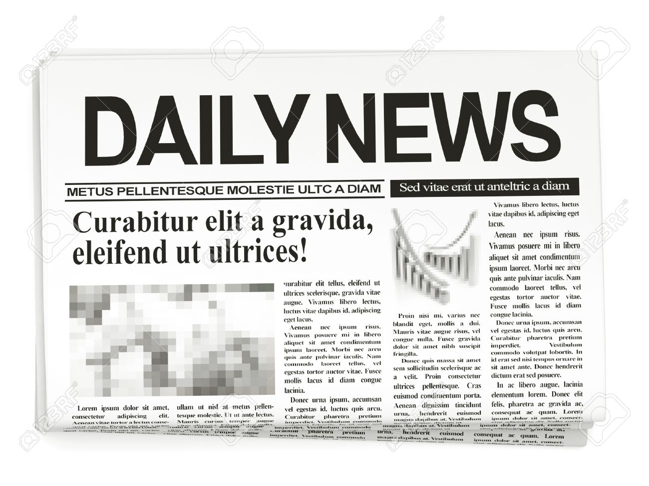 Newspapers on white background Stock Photo - 13229404