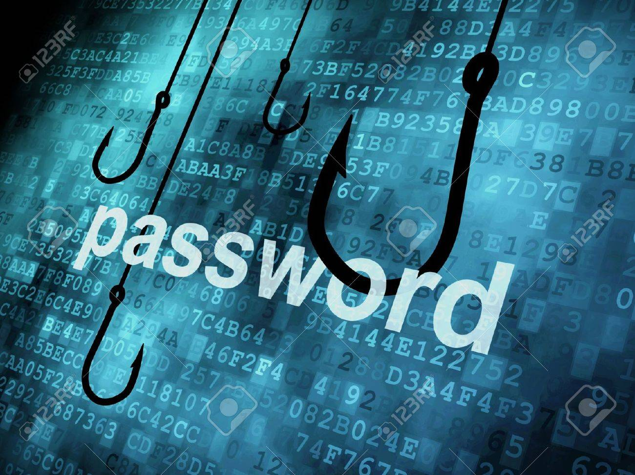The word password hooked by fishing hook, information security concept Stock Photo - 13931422