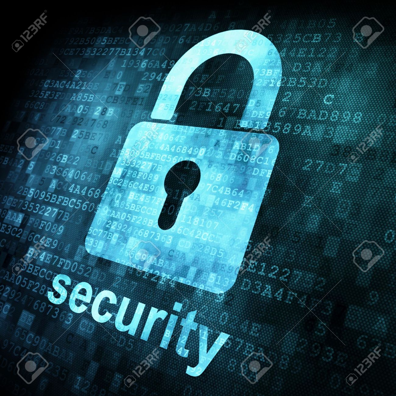 Security concept: Lock on digital screen, contrast, 3d render Stock Photo - 13931457