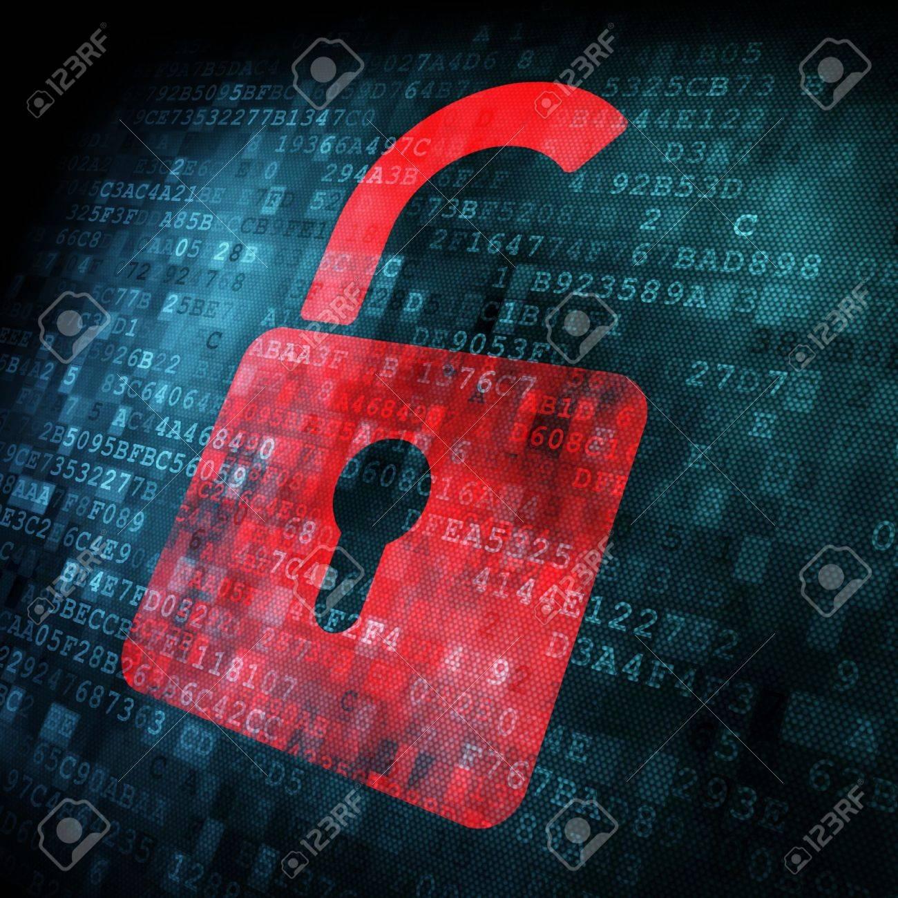 Security concept: Lock on digital screen, contrast, 3d render Stock Photo - 13931459