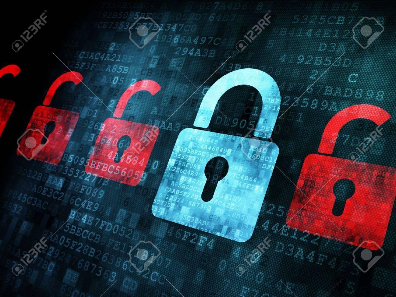 Security concept: Lock on digital screen, contrast, 3d render Stock Photo - 13931431