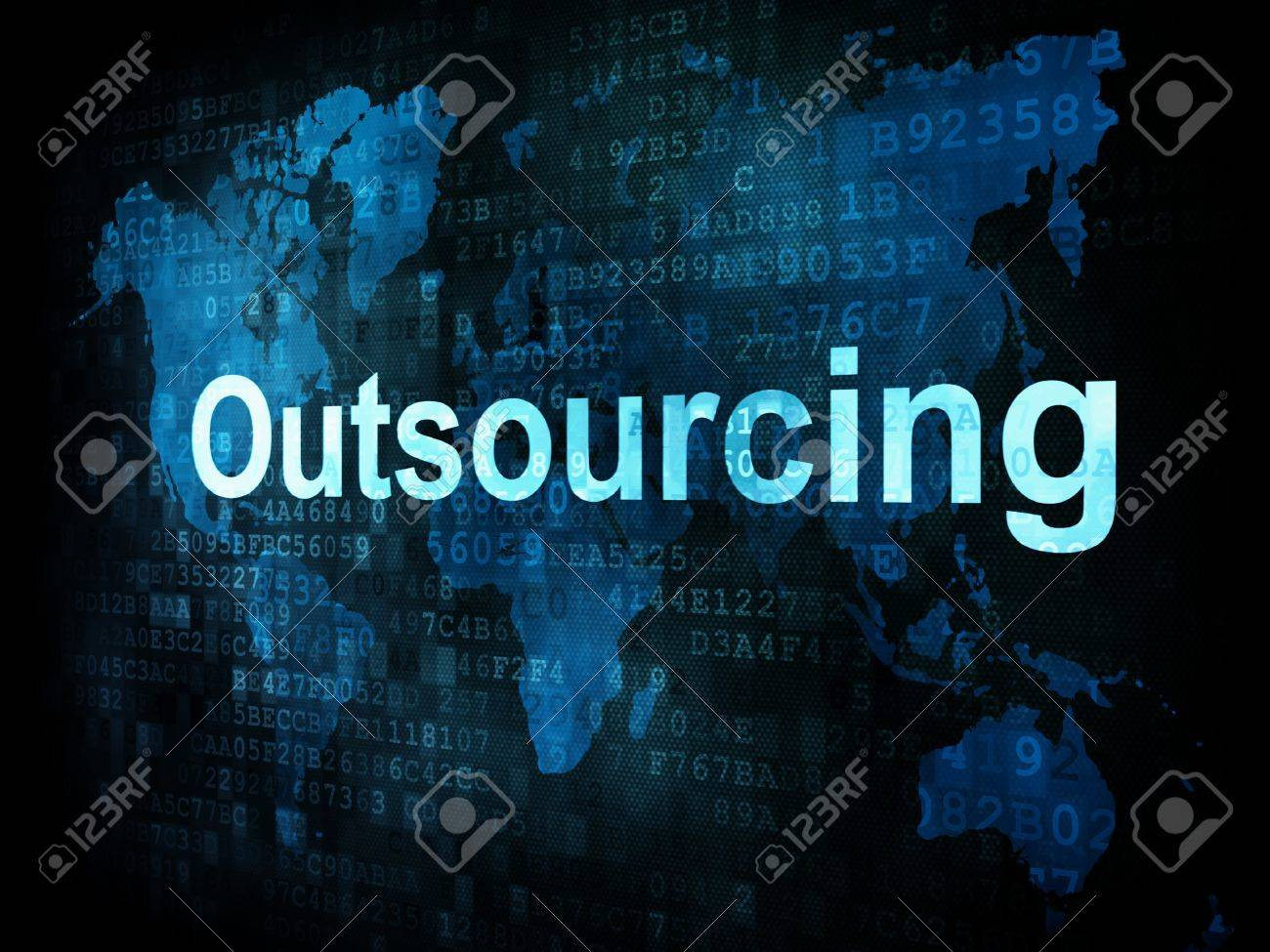 Job, work concept: pixelated words Outsourcing on digital screen, 3d render Stock Photo - 14328869