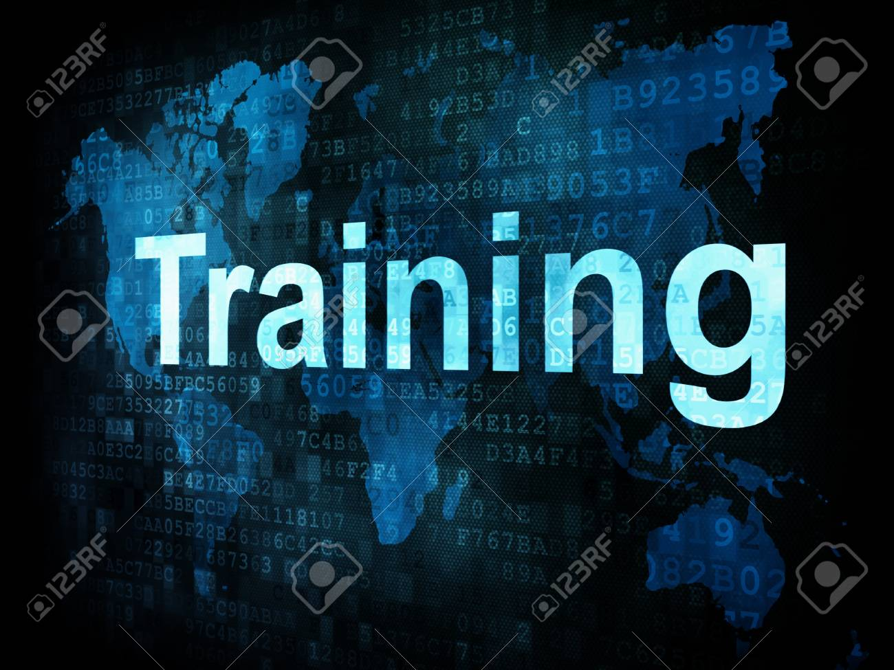 Education and learn concept: pixelated words Training on digital screen, 3d render Stock Photo - 14328866