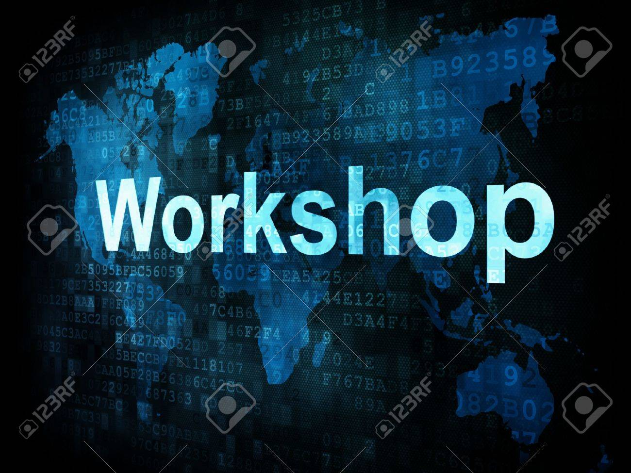 Job, work concept: pixelated words Workshop on digital screen, 3d render Stock Photo - 14328865