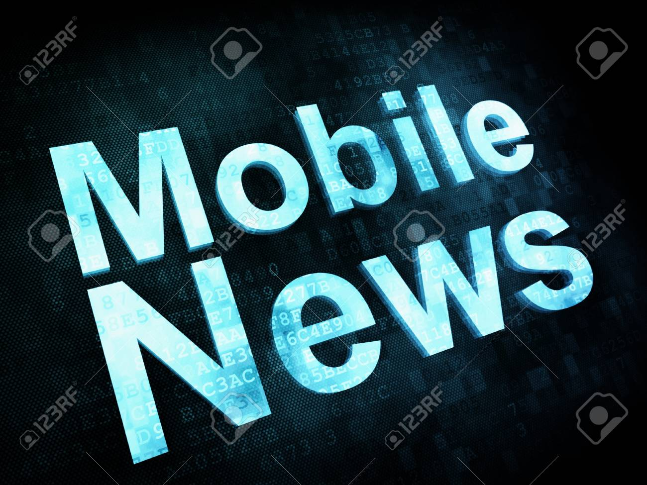 News and press concept: pixelated words Mobile News on digital screen, 3d render Stock Photo - 14375529