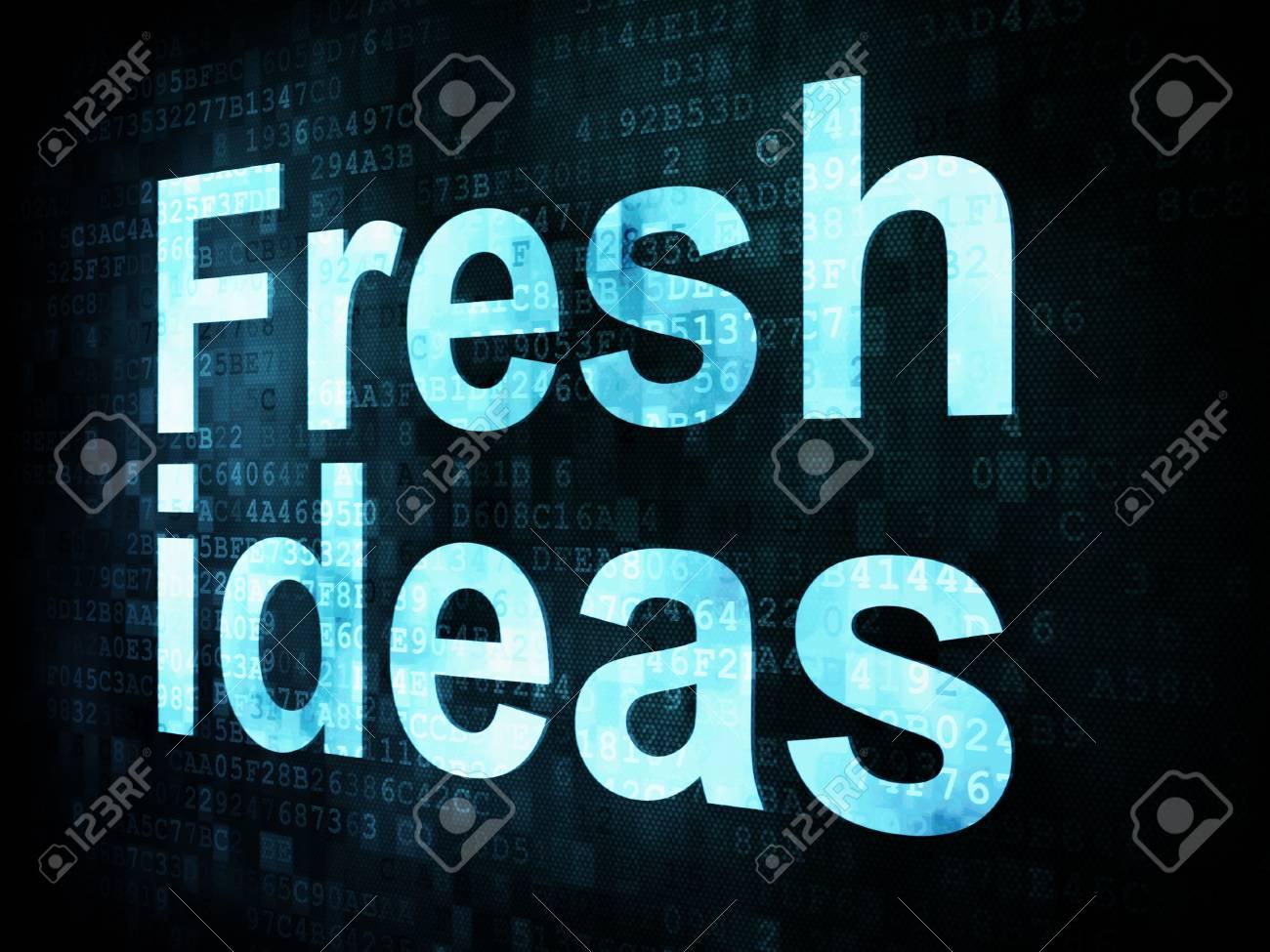 Brainstorm, thinking, idea concept  pixelated words Fresh ideas on digital screen, 3d render Stock Photo - 14594966