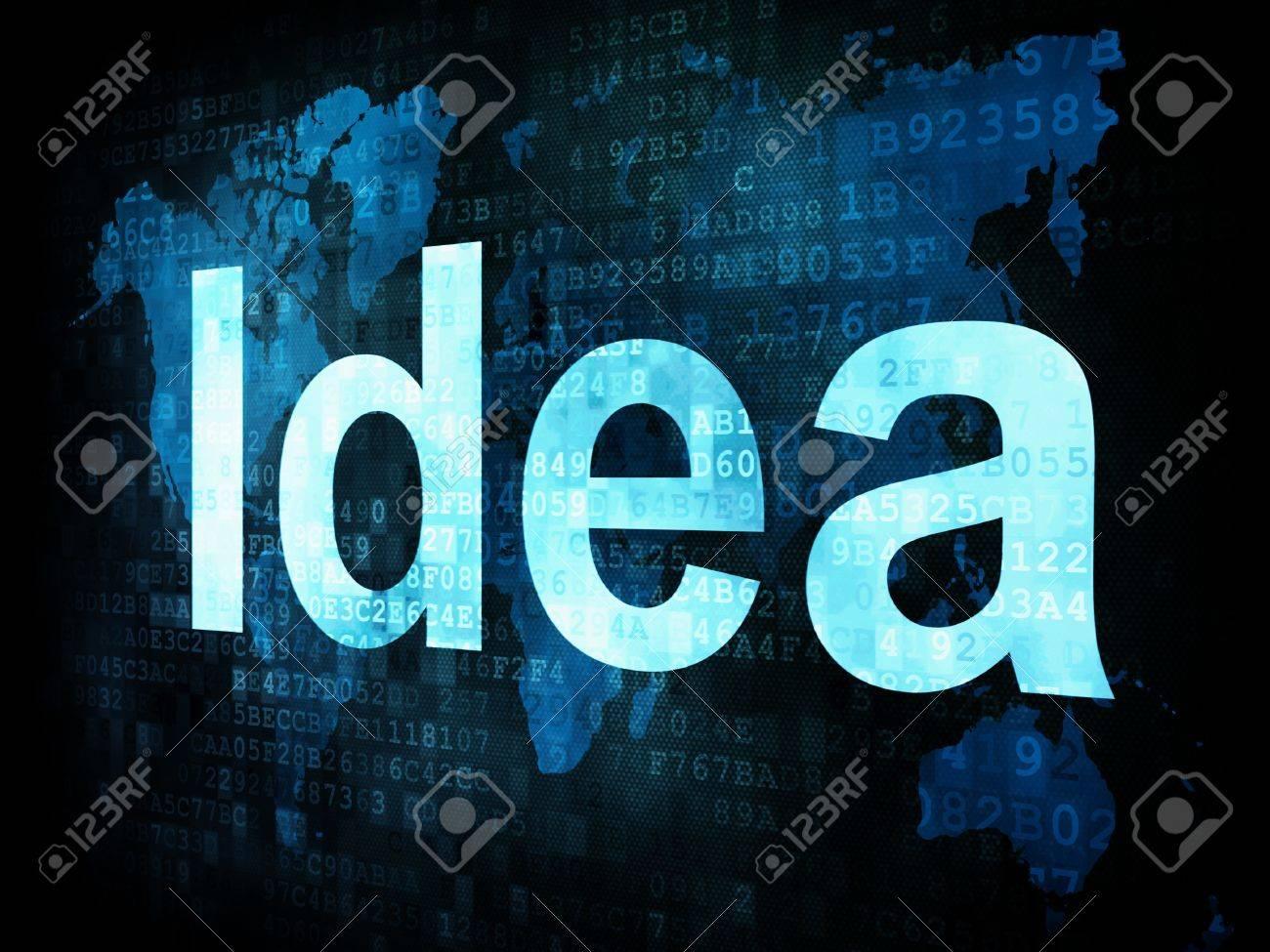 Brainstorm, thinking, idea concept  pixelated words Idea on digital screen, 3d render Stock Photo - 14594981