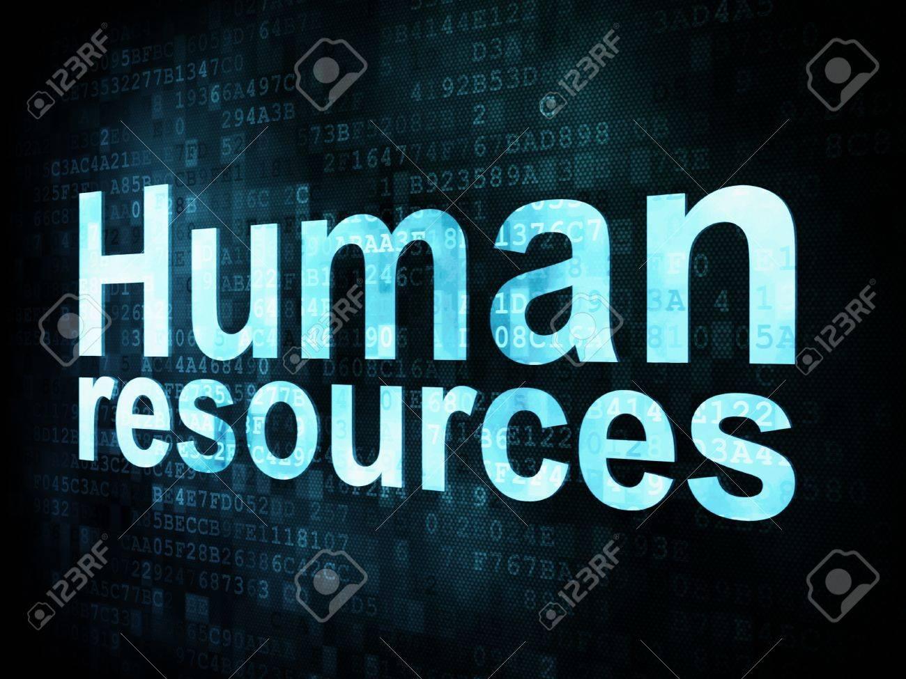 Job, work concept  pixelated words Human resources on digital screen, 3d render Stock Photo - 14613643