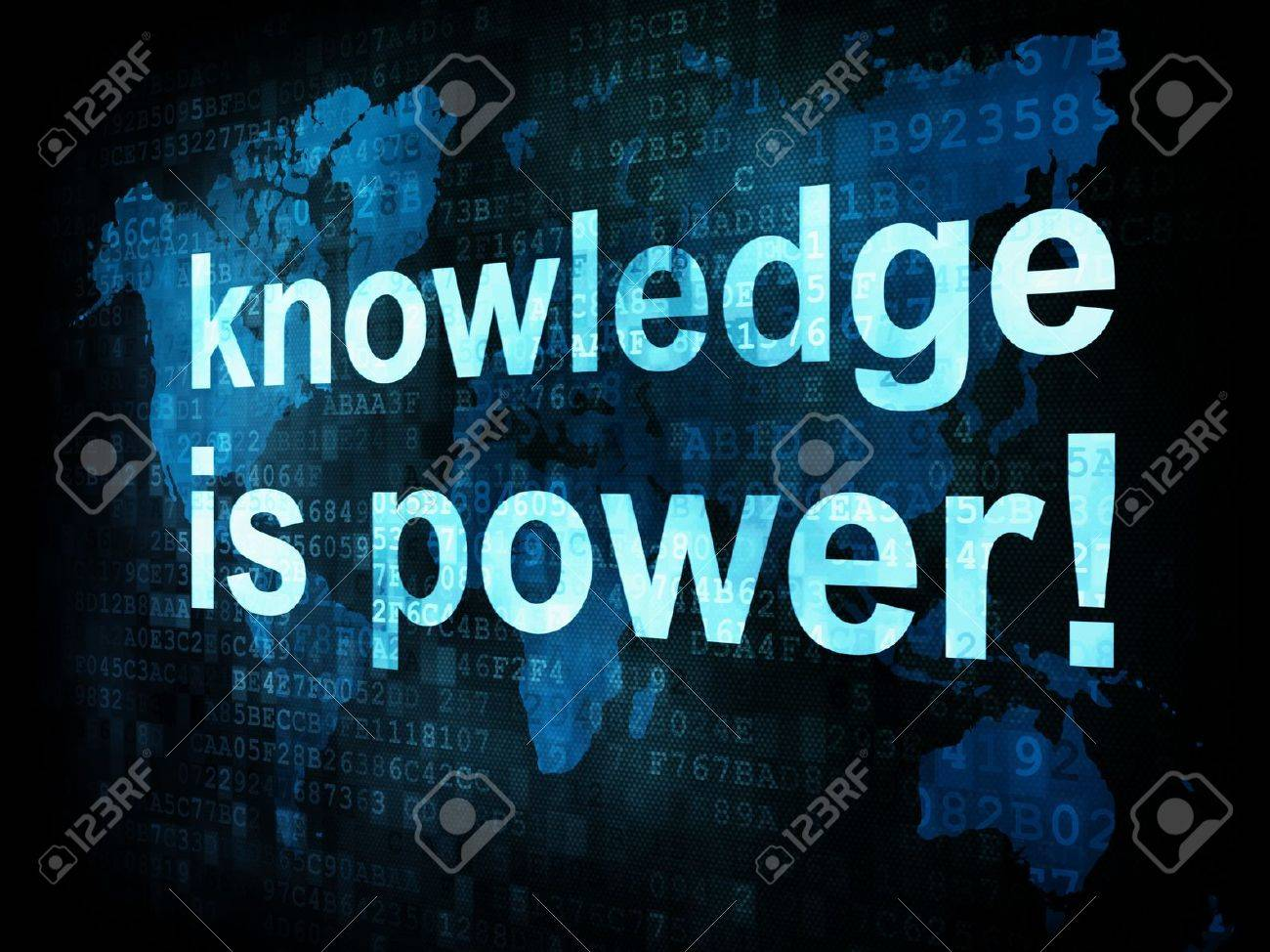 Education and learn concept: pixelated words knowledge is power on digital screen, 3d render Stock Photo - 14613648
