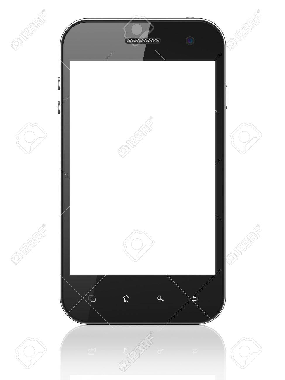 Beautiful smartphone on white background. Generic mobile smart phone, 3d render - 15856768