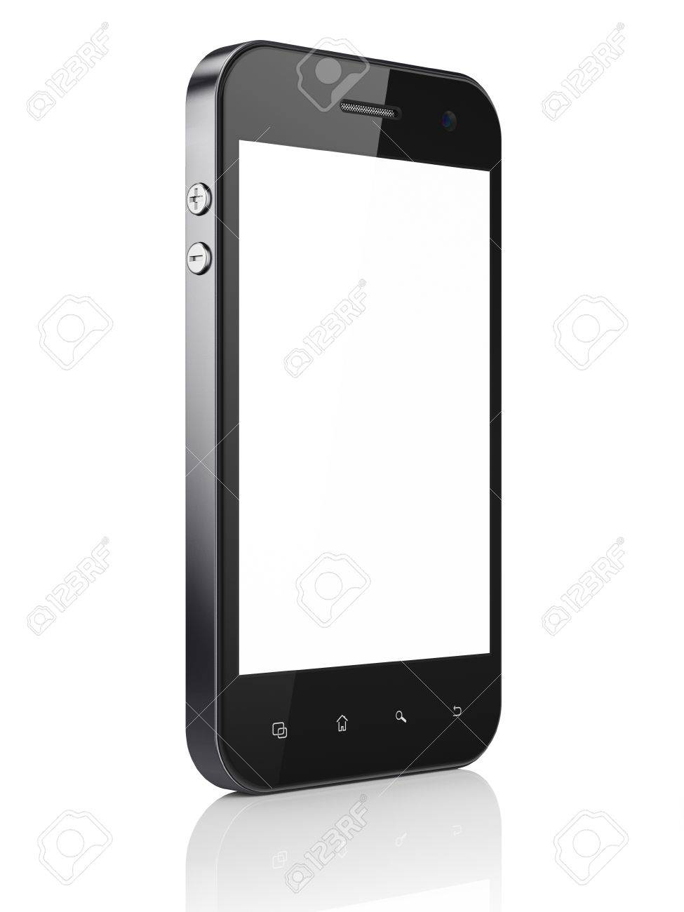 Beautiful smartphone on white background. Generic mobile smart phone, 3d render Stock Photo - 15856770