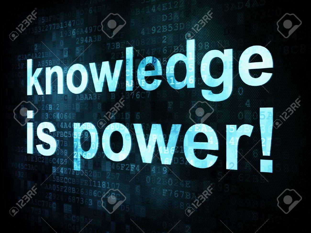 Education and learn concept: pixelated words knowledge is power on digital screen, 3d render Stock Photo - 15914755