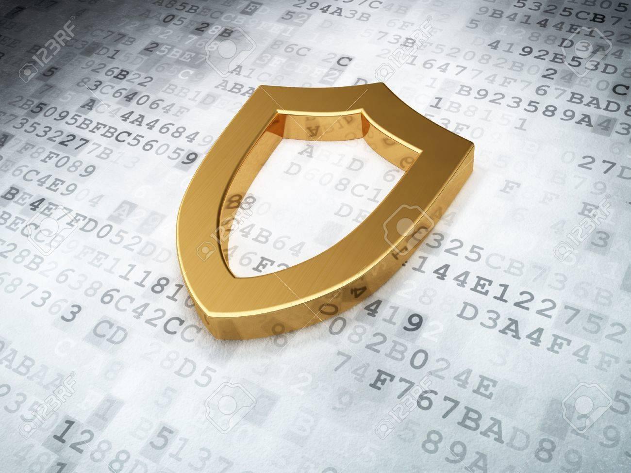 golden contoured shield on digital background, 3d render Stock Photo - 16926992
