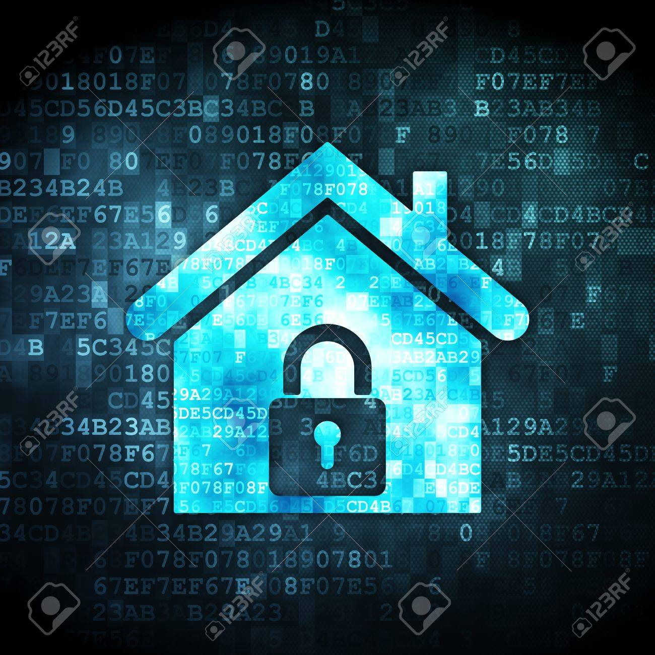 Security concept: pixelated home icon on digital background, 3d render Stock Photo - 16922911