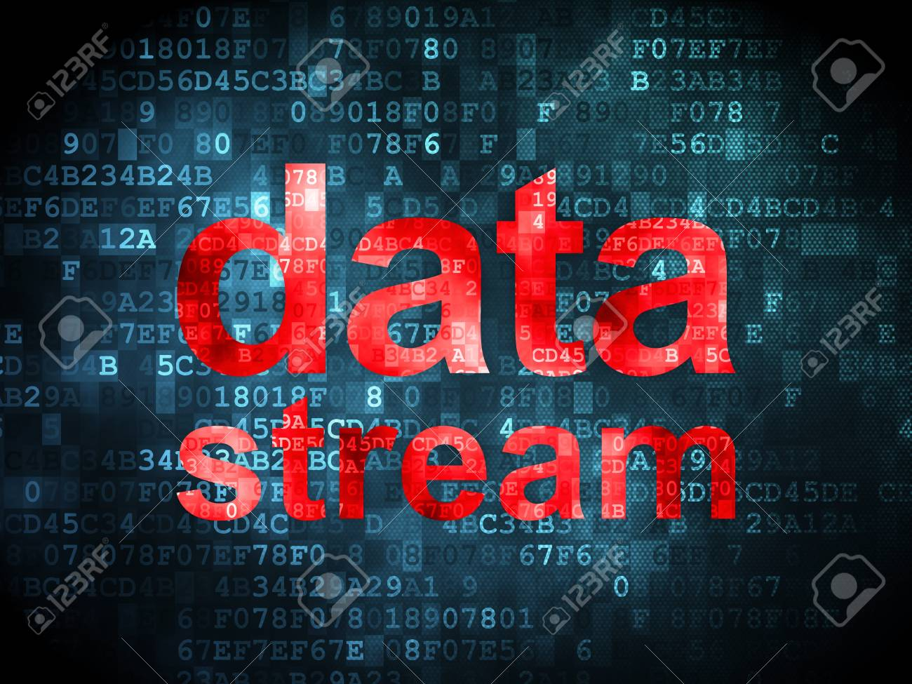 Information concept: pixelated words data stream on digital background, 3d render Stock Photo - 16927041