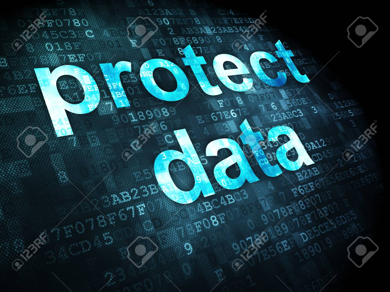 Security concept: pixelated words protect data on digital background, 3d render Stock Photo - 16927016