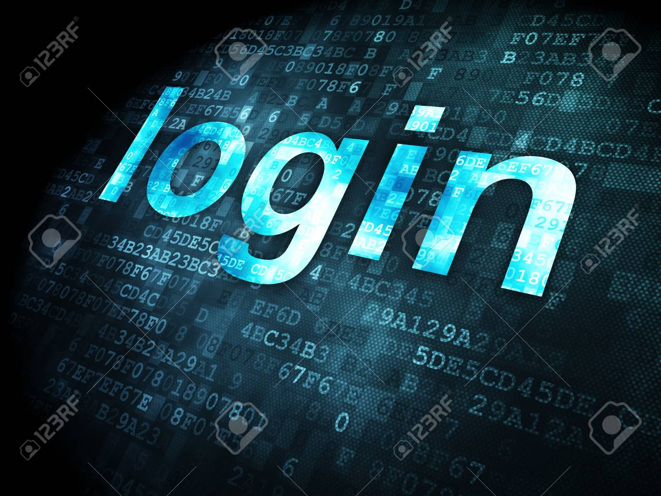 Security concept: pixelated words login on digital background, 3d render Stock Photo - 16927015