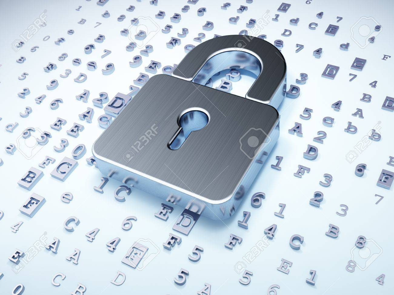 Security concept: silver closed padlock on digital background, 3d render Stock Photo - 16927085