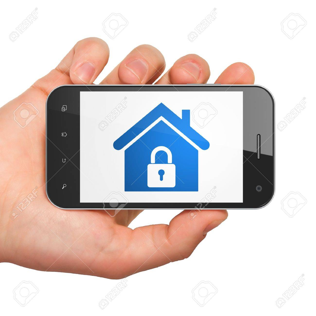 Protection concept  hand holding smartphone with Home on display  Generic mobile smart phone in hand on White background Stock Photo - 17549267