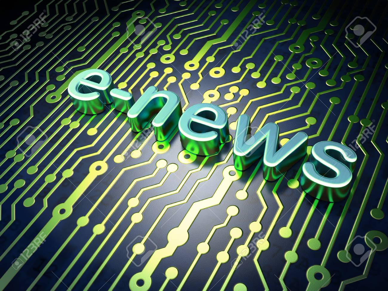 News concept  circuit board with word E-news, 3d render Stock Photo - 17549662