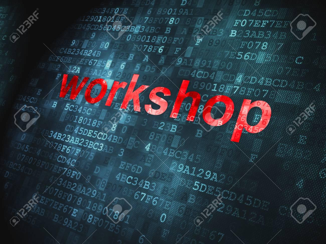 Education concept  pixelated words Workshop on digital background, 3d render Stock Photo - 17549881