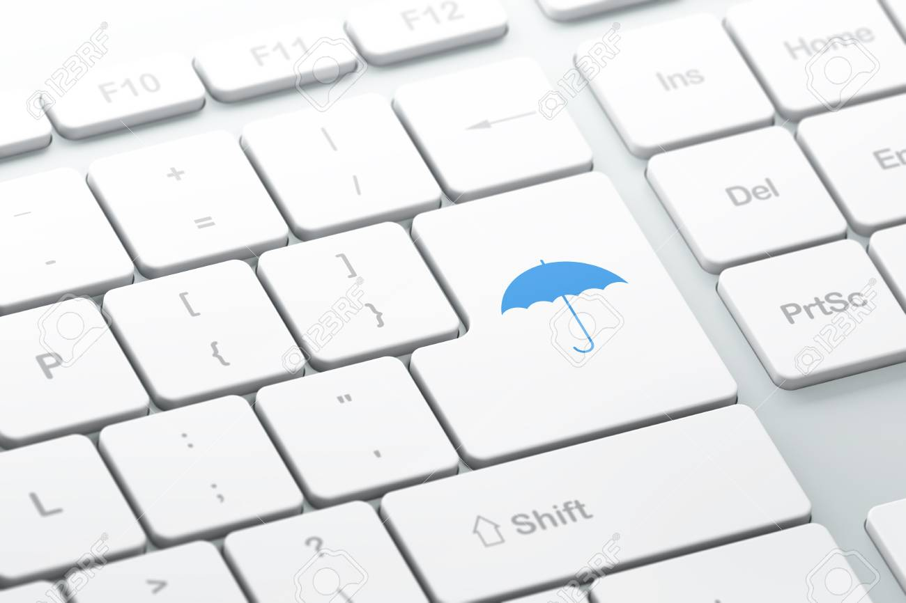 Safety concept  enter button with Umbrella on computer keyboard, 3d render, selected focus Stock Photo - 17549812