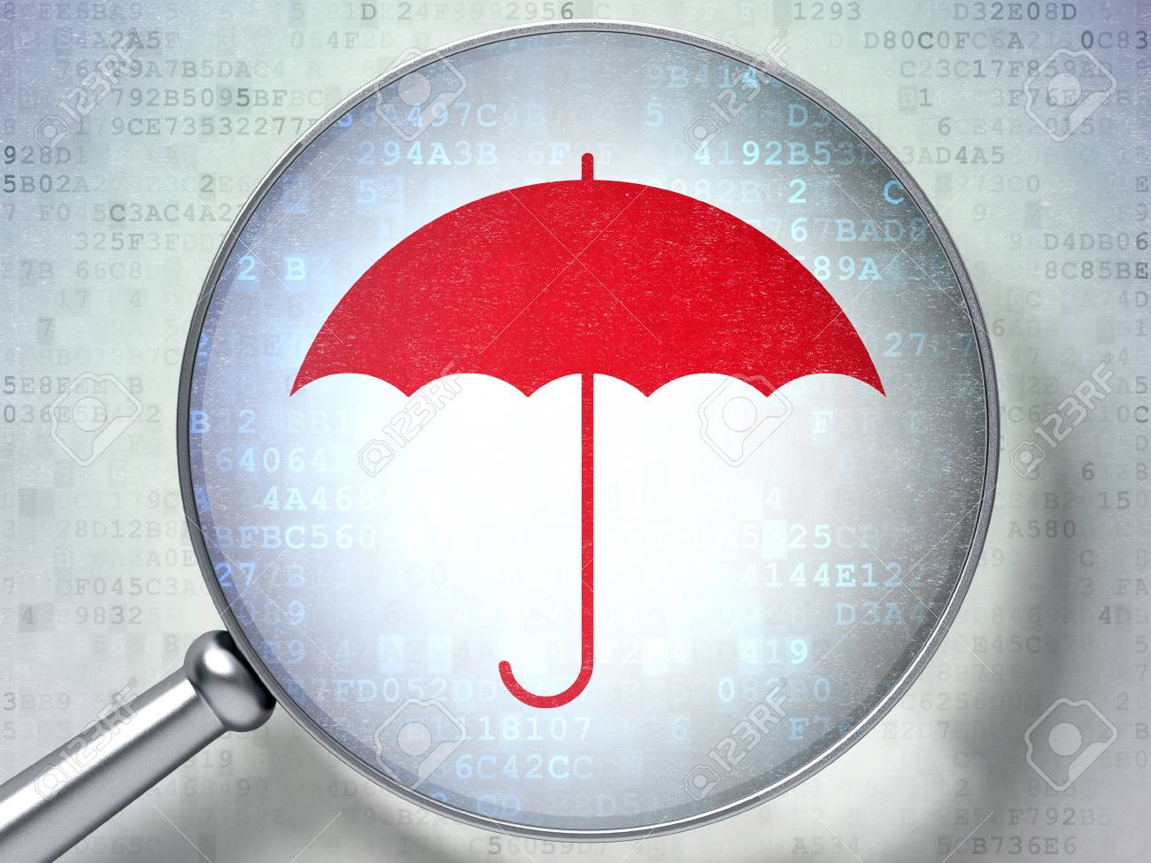 Magnifying optical glass with Umbrella icon on digital background, 3d render Stock Photo - 17549918