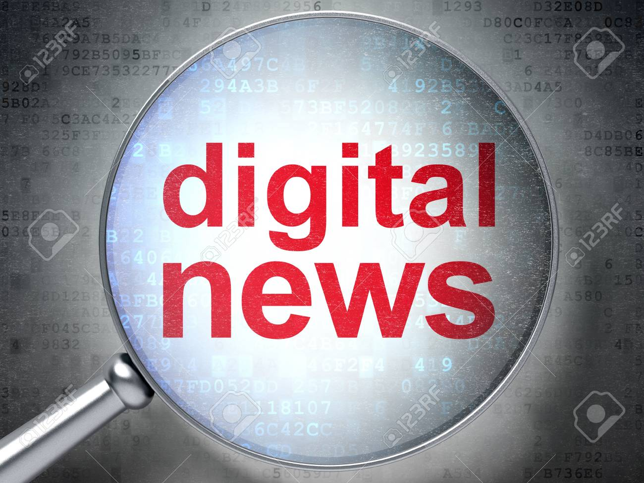 Magnifying optical glass with words Digital News on digital background, 3d render Stock Photo - 17549926