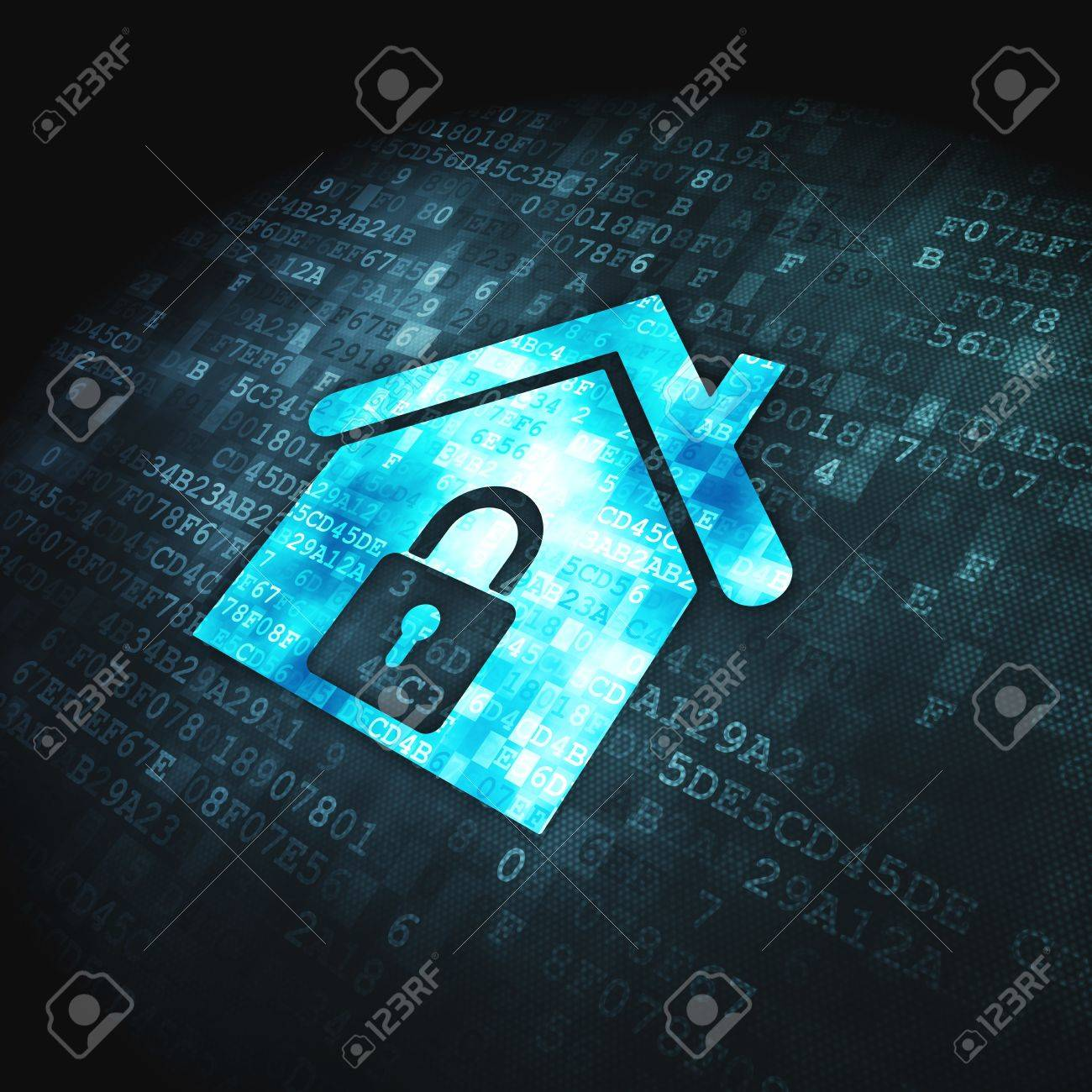 Safety concept  pixelated Home icon on digital background, 3d render Stock Photo - 17677894