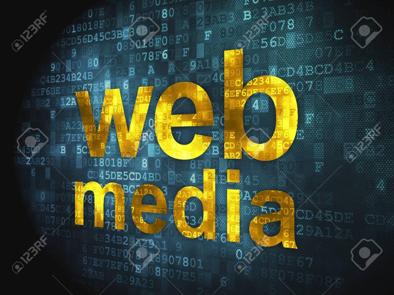 Web development SEO concept  pixelated words Web Media on digital background, 3d render Stock Photo - 17742716
