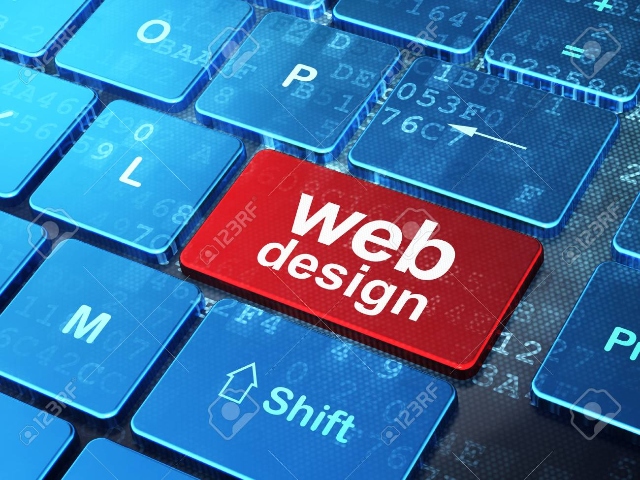 Web development concept  computer keyboard with word Web Design on enter button, 3d render Stock Photo - 18428462