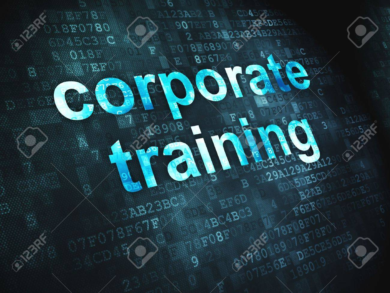 Education concept  pixelated words Corporate Training on digital background, 3d render Stock Photo - 18456955