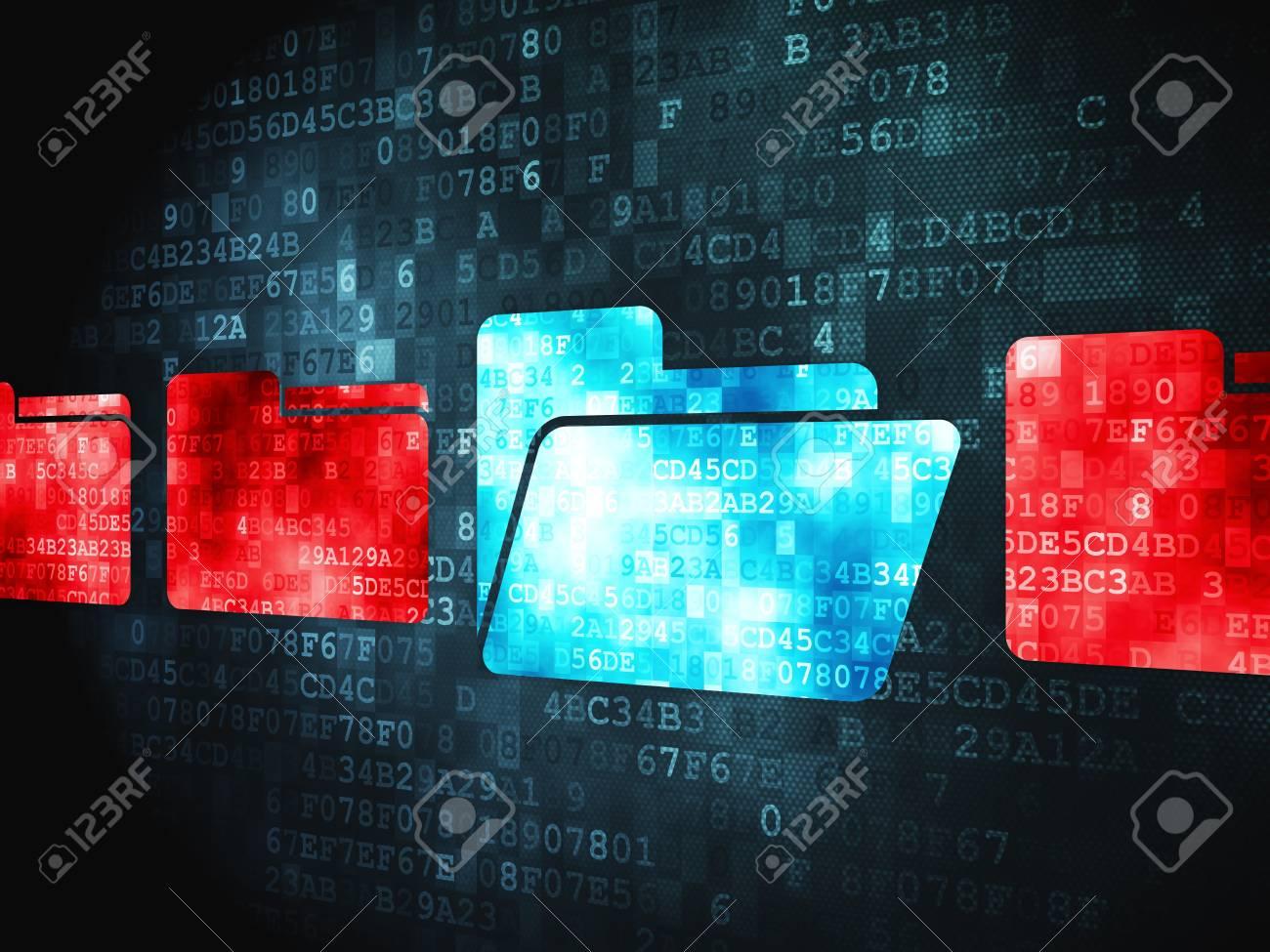 Finance concept  pixelated Folder icon on digital background, 3d render Stock Photo - 18766011