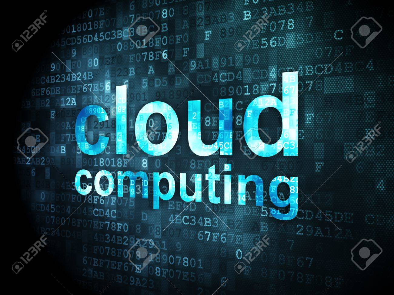 Cloud computing concept  pixelated words Cloud Computing on digital background, 3d render Stock Photo - 18766012
