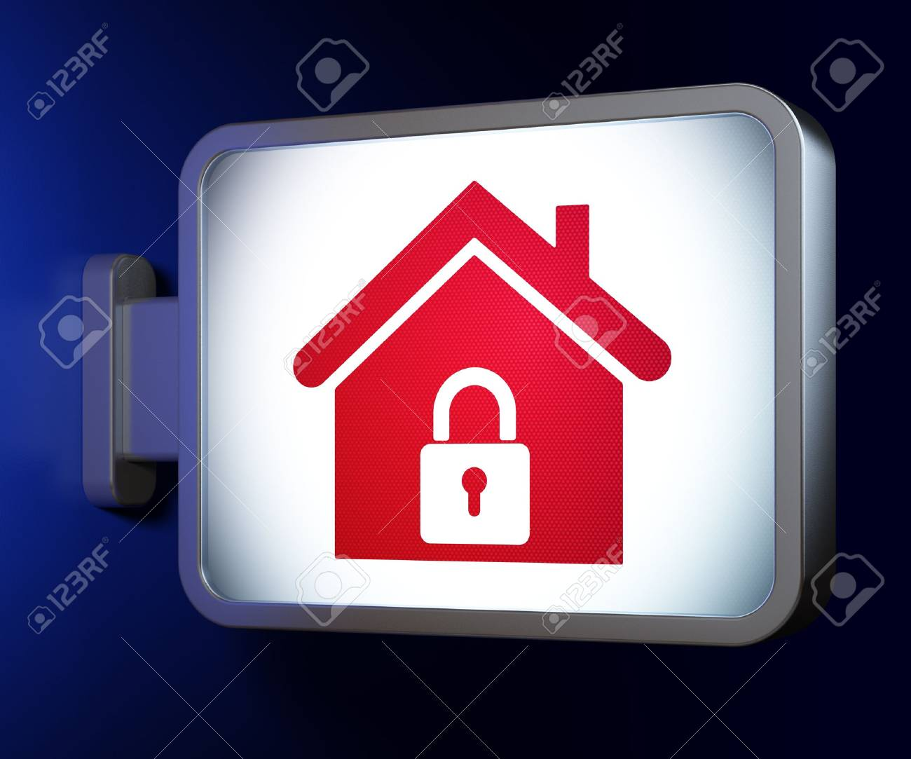 Protection concept  Home on advertising billboard background, 3d render Stock Photo - 19115073