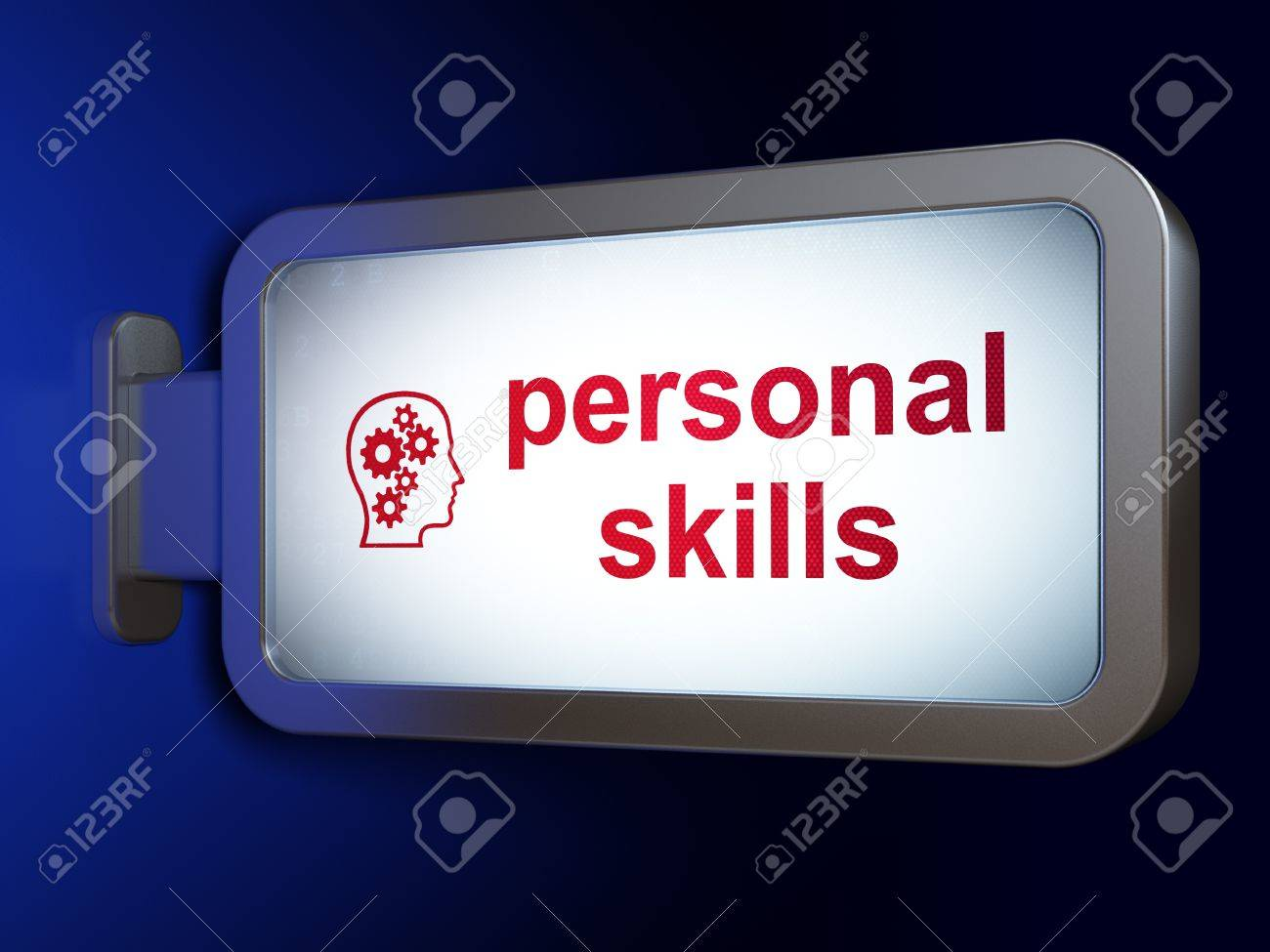 education concept personal skills and head gears on education concept personal skills and head gears on advertising billboard background 3d render stock