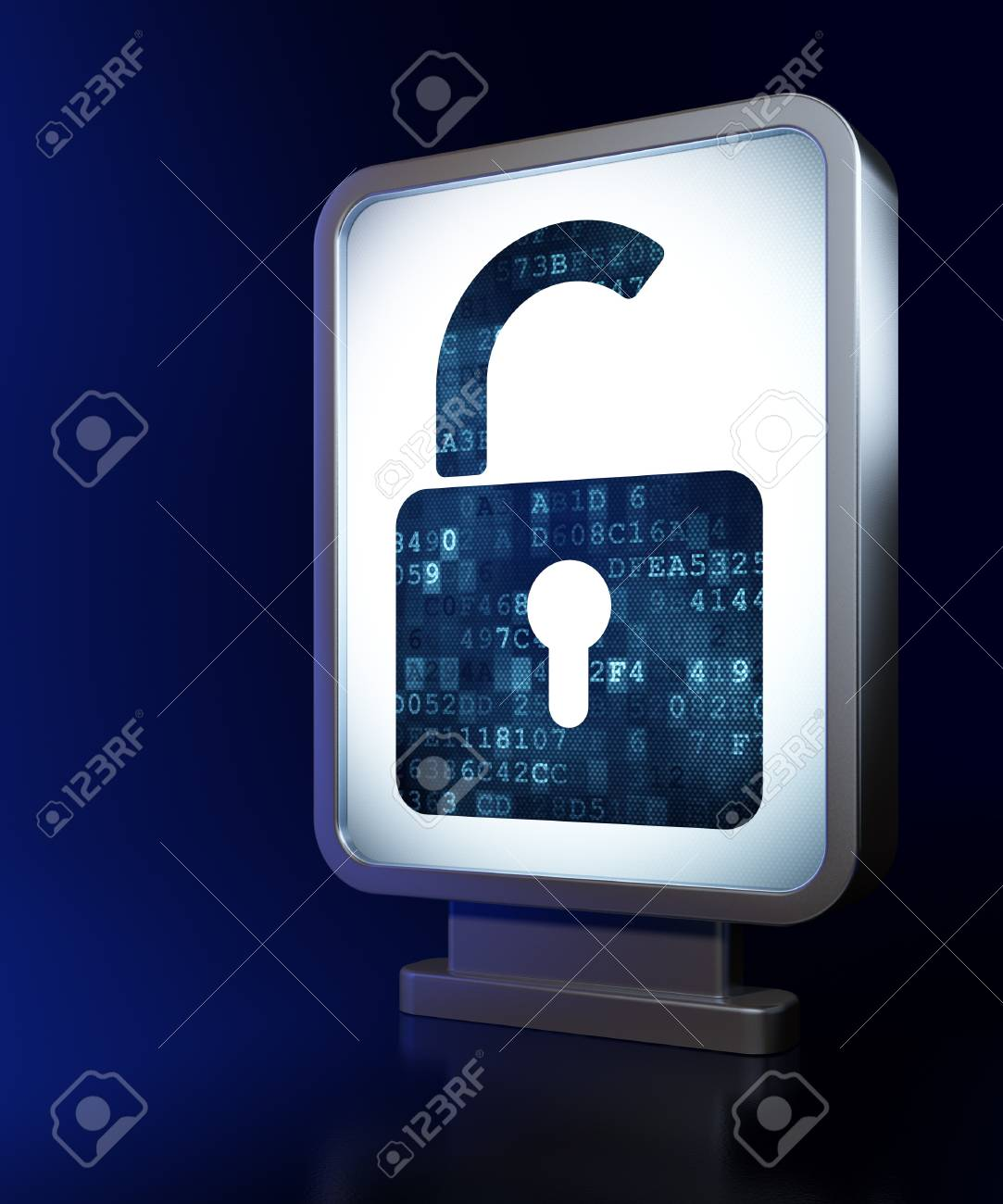 Privacy concept  Opened Padlock on advertising billboard background, 3d render Stock Photo - 19115128