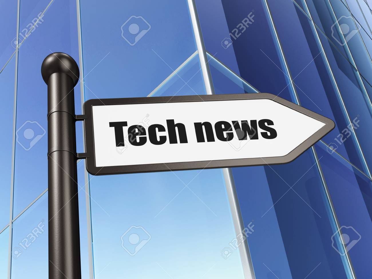 News concept  Tech News on Building background, 3d render Stock Photo - 19490787