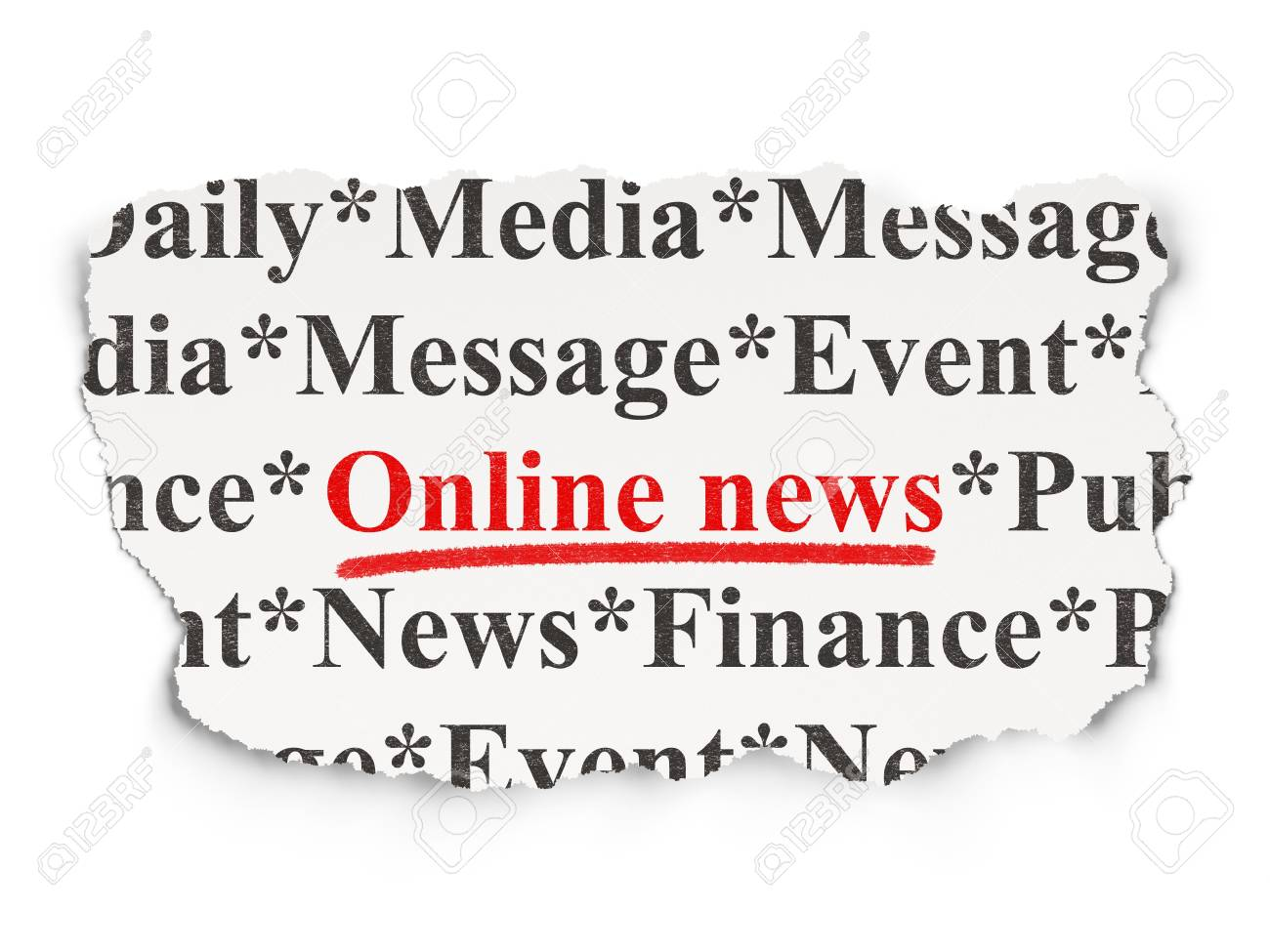 News concept  torn newspaper with words Online News on Paper background, 3d render Stock Photo - 19490959