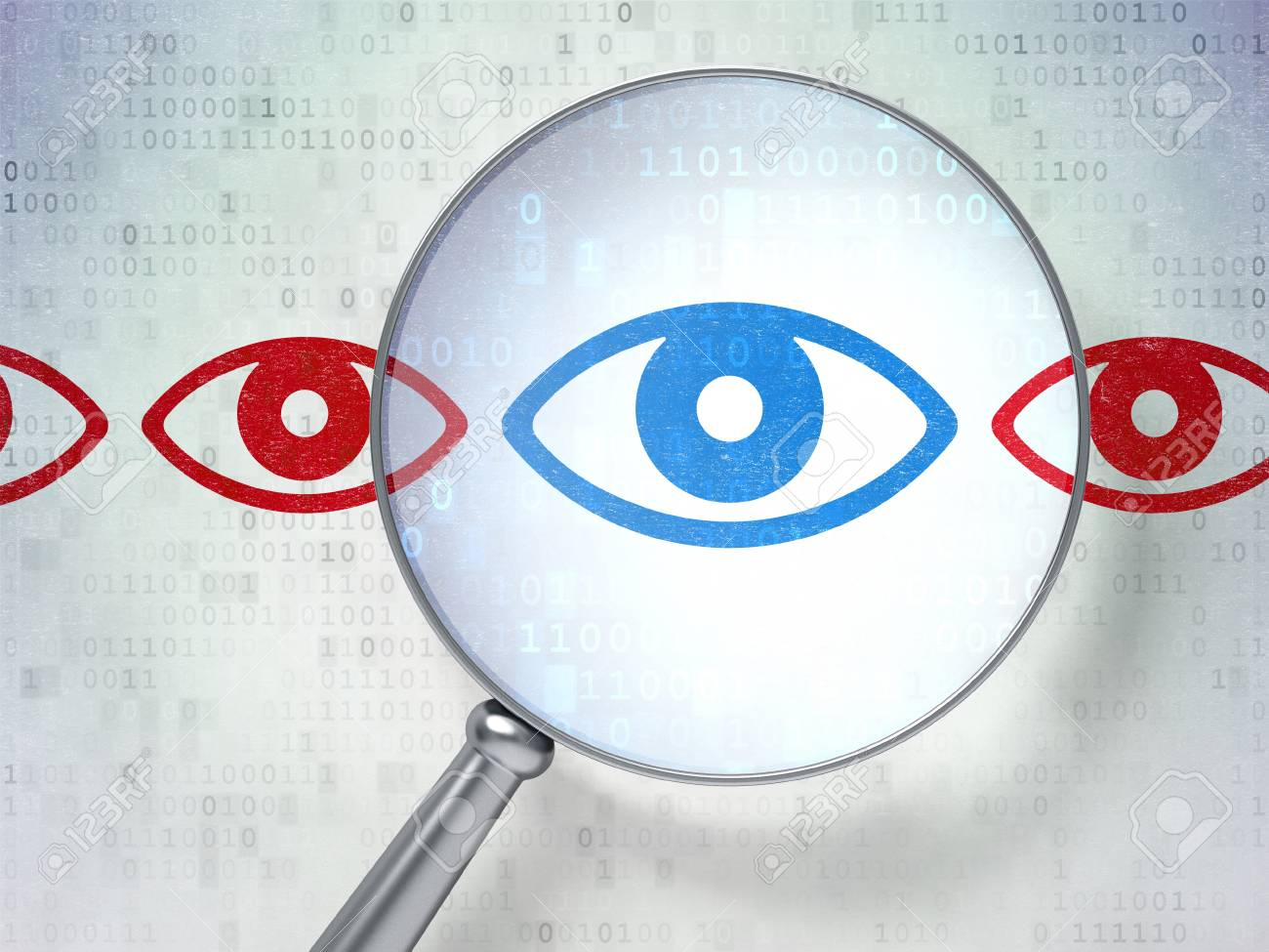 Magnifying optical glass with Eye icons on digital background, 3d render Stock Photo - 19619852