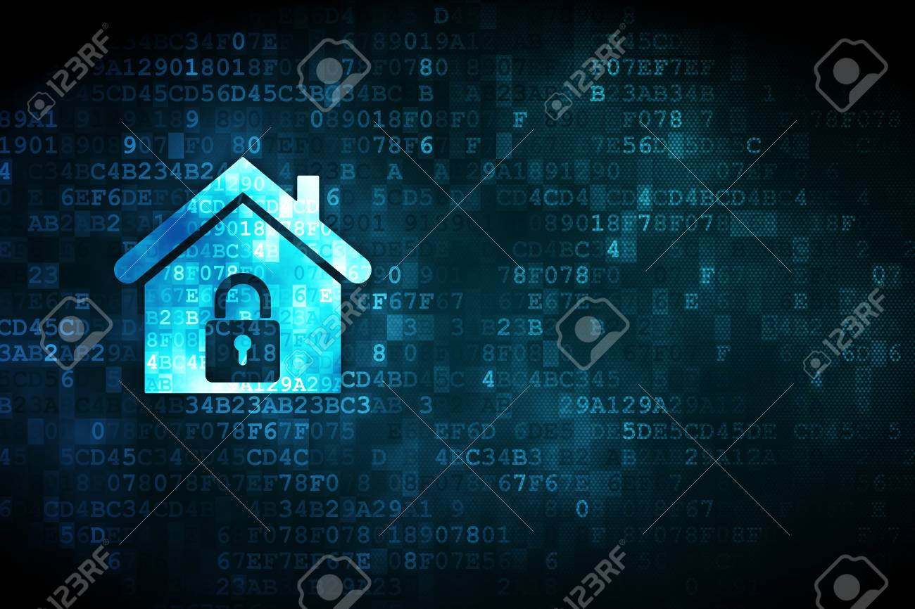 Safety concept  pixelated Home icon on digital background, empty copyspace for card, text, advertising, 3d render Stock Photo - 19830667