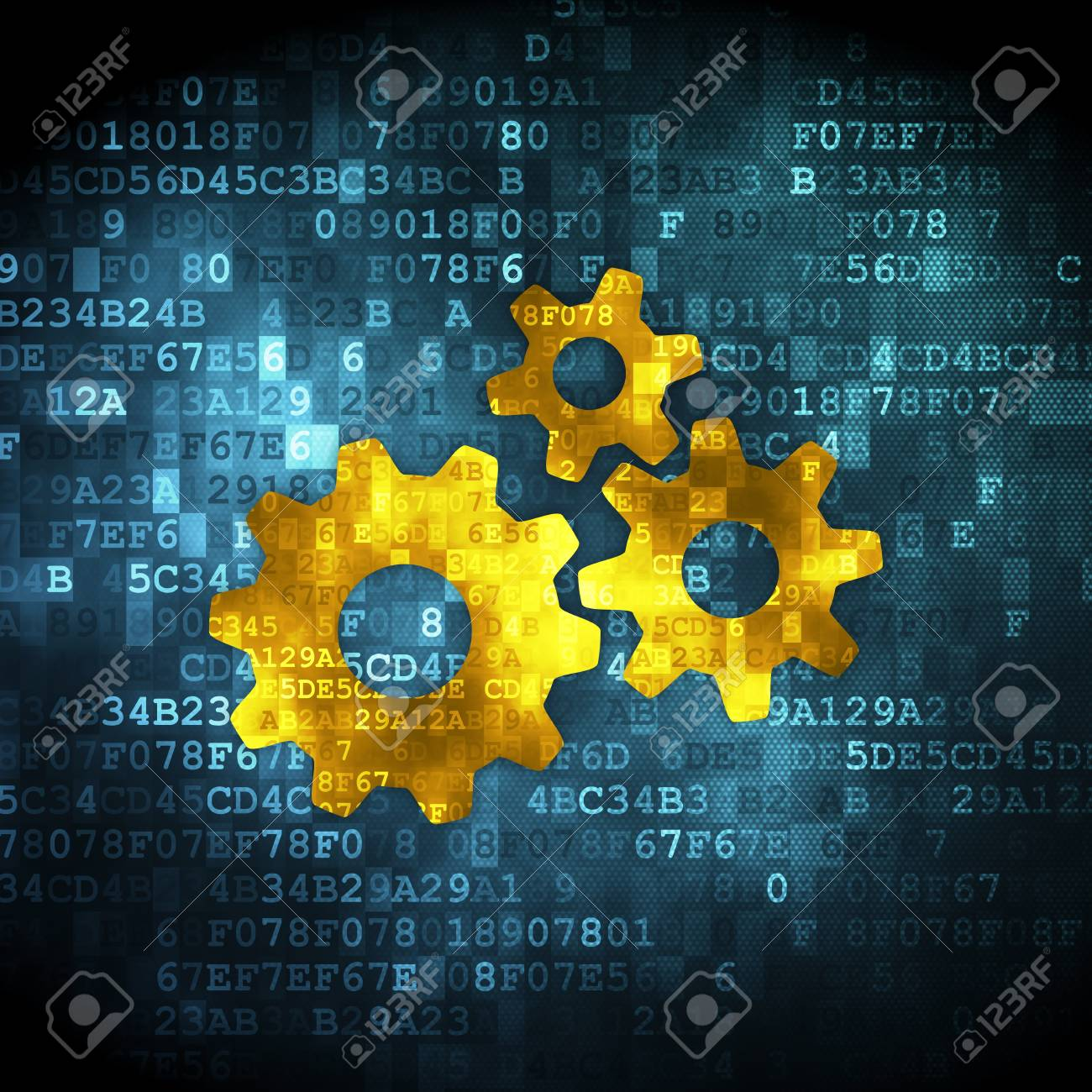Marketing concept pixelated Gears icon on digital background,
