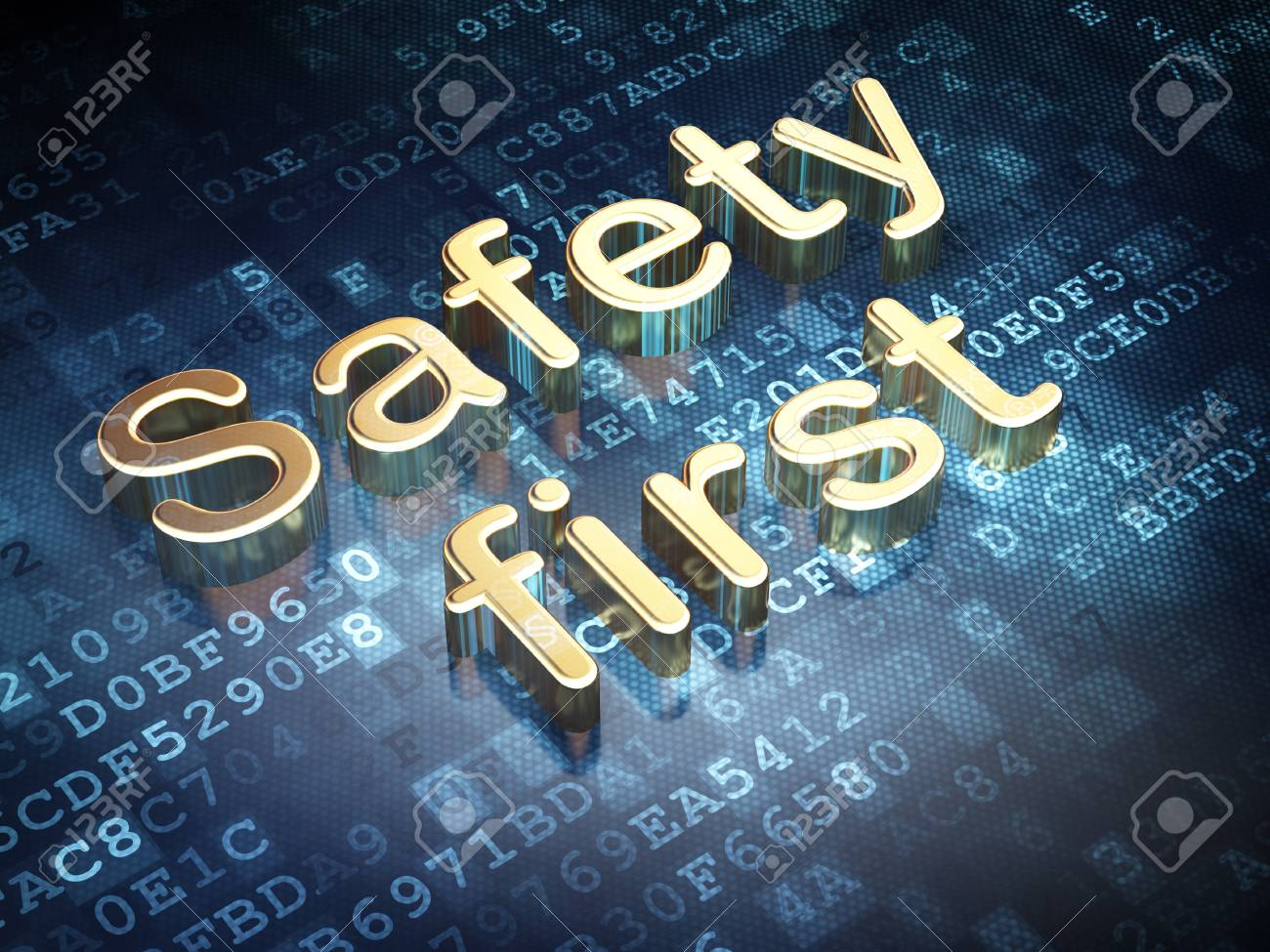 Protection concept  Golden Safety First on digital background, 3d render Stock Photo - 19830663