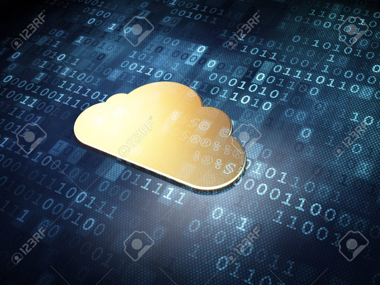 Cloud computing concept  Golden Cloud on digital background, 3d render Stock Photo - 19866476