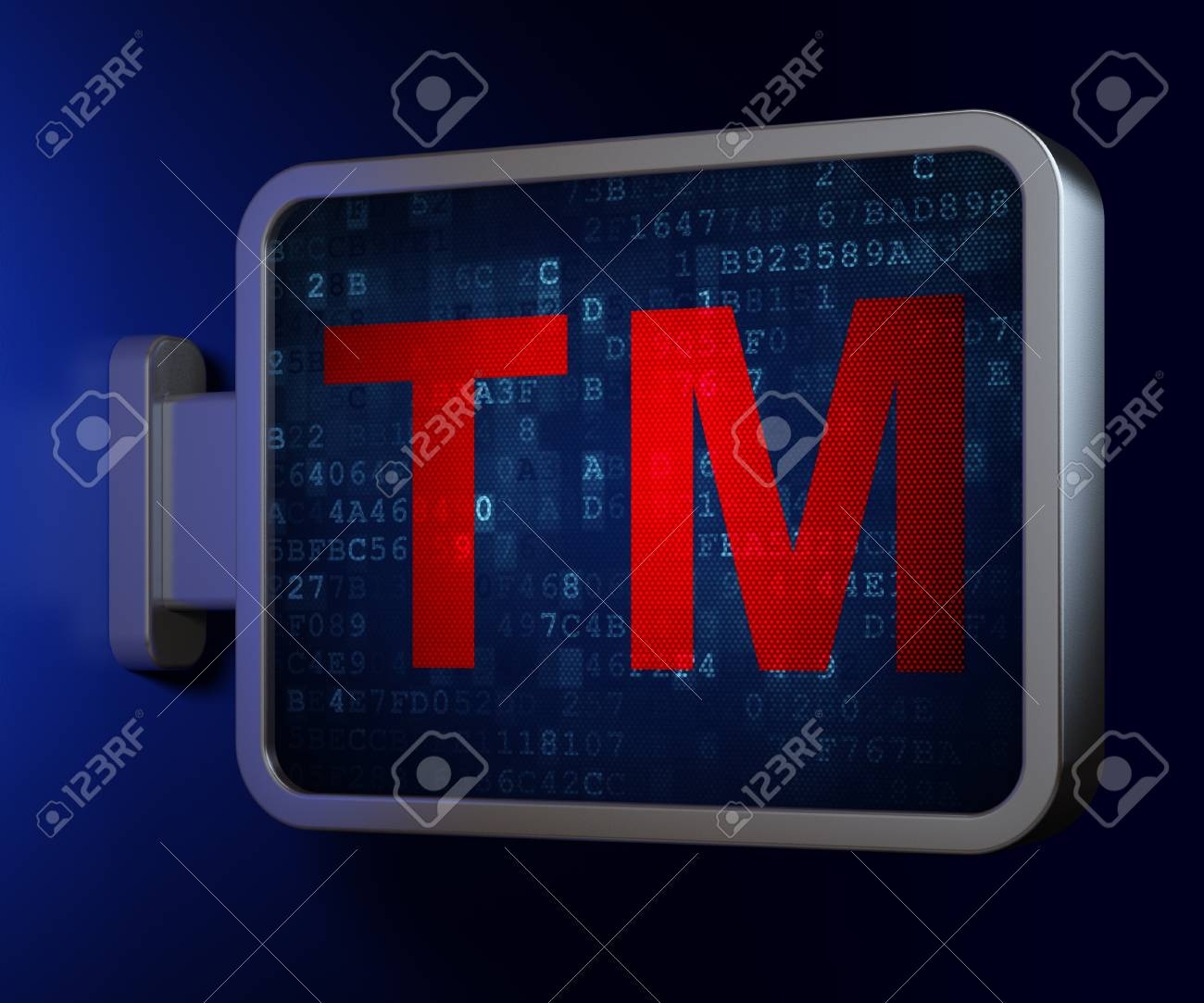 Law concept Trademark on advertising billboard background, 3d