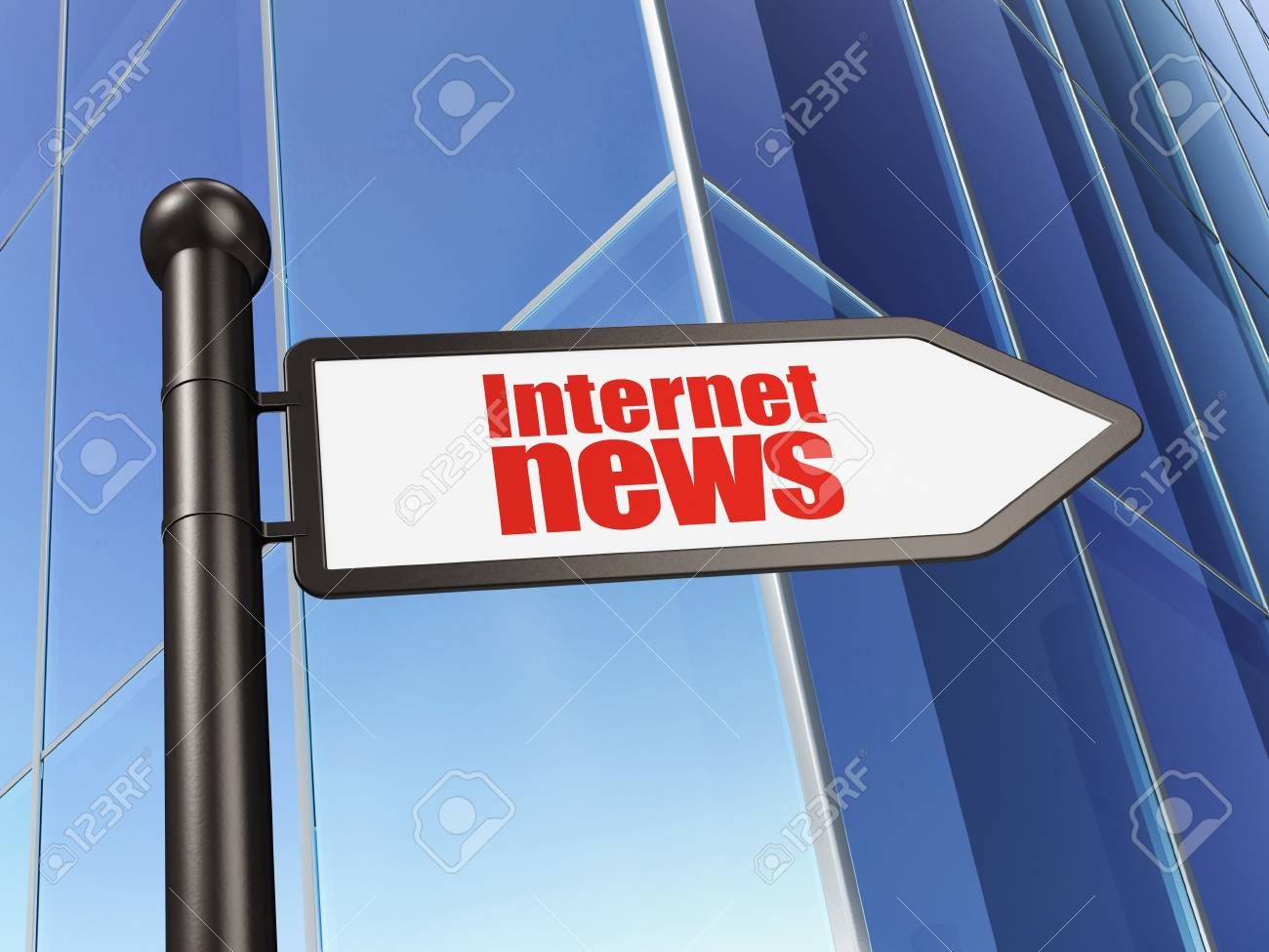 News concept  Internet News on Building background, 3d render Stock Photo - 20156150