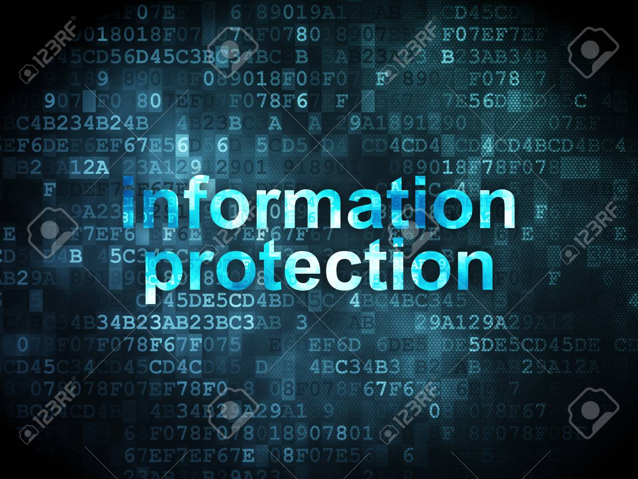 Privacy concept: pixelated words Information Protection on digital background, 3d render Stock Photo - 21345054